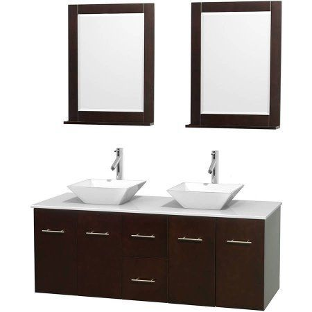Wyndham Collection Centra 60 Inch Double Bathroom Vanity In Espresso White Man Made Stone
