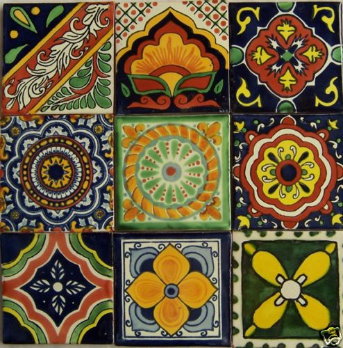 9  Hand Painted Talavera Mexican Tiles 4 x 4 by Casadaya on Etsy, $13.00