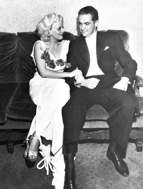 "Jean Harlow with Howard Hughes promoting ""Hells Angels"""