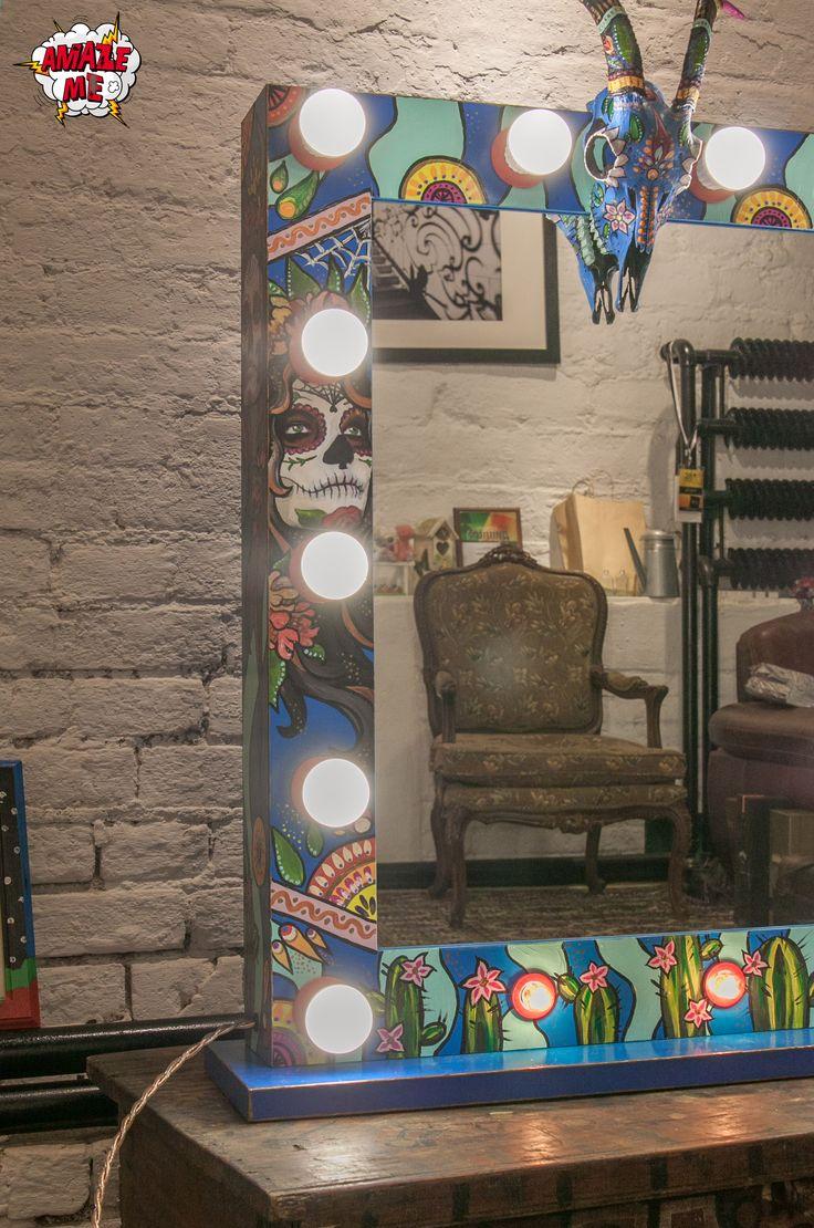 """Темпераментное и аутентичное гримерное зеркало """"MexicoArt"""" Его дизайн впитал в себя весь мексиканский колорит: яркие, почти дикие цвета, этнические орнаменты, расписанный череп животного и самый узнаваемый образ девочки Катрин, символ главного праздника Día de los Muertos ( исп. День Мертвых). Заказать гримерное зеркало со свои уникальным дизайном можно на нашем сайте>>> http://rayapple.ru/mirror/  #ГримерноеЗеркало #зеркало #mirror #makeup #MakeupMirror #dressingroom"""