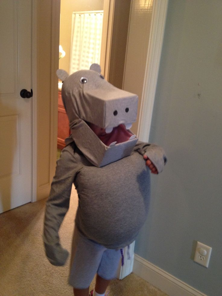 Homemade Hippo costume- no sewing required!  Just use 2 shoe boxes an old gray shirt and facial accents (googly eyes, stiff felt for teeth and ears); then use oversized gray shirt and shorts with a pillow stuffed for the body. Took some creativity and a hot glue gun to make it work but it turned out great!