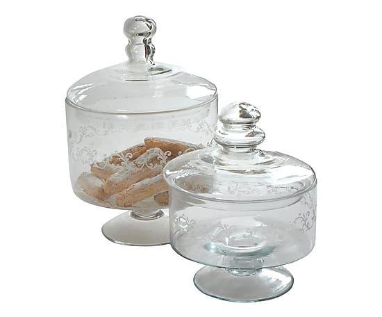 Set di 2 alzatine con cloche in vetro trasparente - 20x30x20 cm