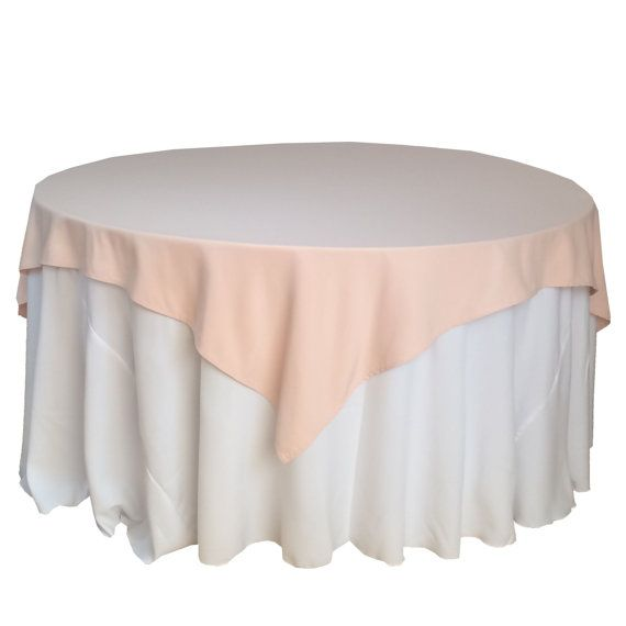 Blush Table Overlays 85 x 85 inches, Table Overlays for 6 ft Round Tables, Square Blush Tablecloths | Wholesale Table Linens, Wedding Decor
