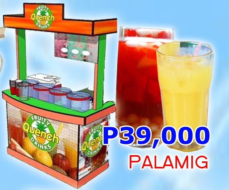 Palamig Juices. First, your cart is your face to your customers, it must be big, nice, presentable, and durable. Second, the food preparation is easy and not a trade secret. Anybody with the right equipment can do it. However, the taste, quality, and price of the products being served must be acceptable to consumers — we will provide you the same. Products: Diff. flavors of palamig (Buko Pandan, Melon, Mango, Gulaman, others);  SRP: P10-15/serving
