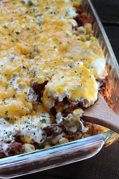 Cream cheese and sour cream, mixed with salsa, and noodles with cheese, make this Hamburger Pasta Casserole Bake the perfect dinner.