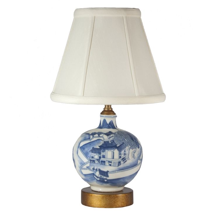 Wonderful Small Blue White Asian Scene Porcelain Lamp