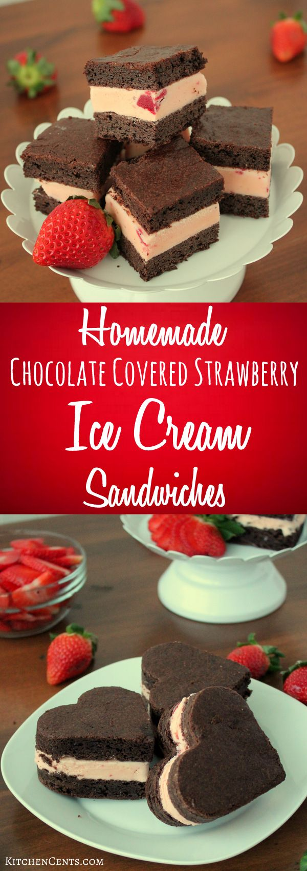 Homemade Chocolate Covered Strawberry Ice Cream Sandwiches | KitchenCents.com With strawberry ice cream smooshed between two chocolate brownies layers, these Chocolate Covered Strawberry Ice Cream Sandwiches are a fun frozen twist on the classic chocolate covered strawberry.