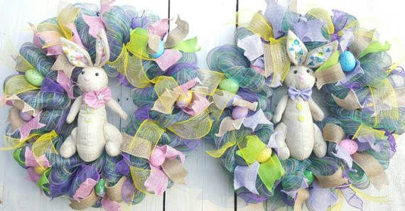 Check out this item in my Etsy shop https://www.etsy.com/listing/520216429/double-door-wreath-bunny-wreath-male