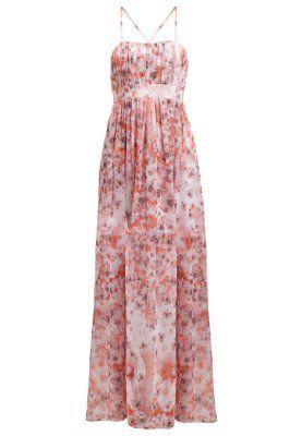 Fotsid kjole - koralle/cremeweiss