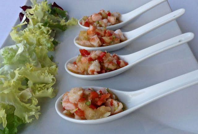 Cucharitas de langostinos y piña con vinagreta (Hoy comemos sano)
