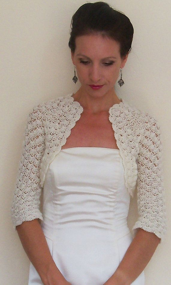 Ivory bridal BOLERO Lace WEDDING shrug Crochet by HandmadeLaremi