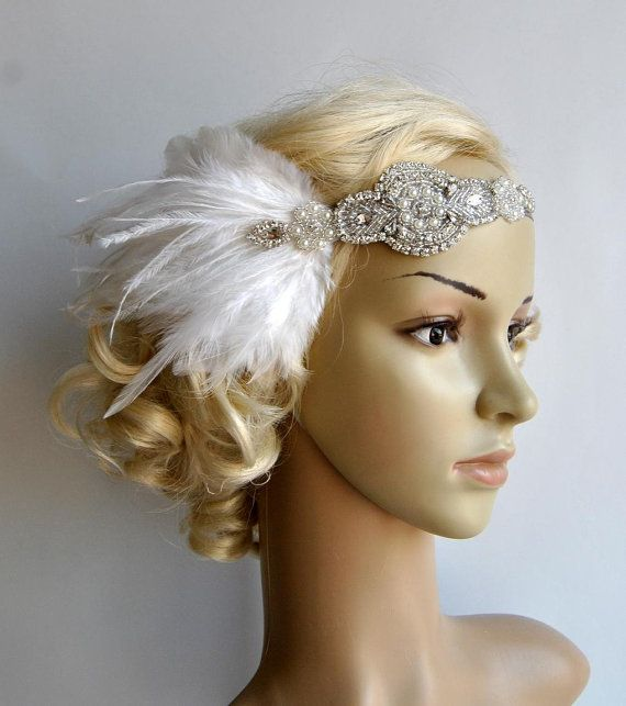 Crystal Applique Headband Beautiful Vintage Style flapper headband. Perfect for a vintage inspired bride, 1920s wedding or Great Gatsby party or