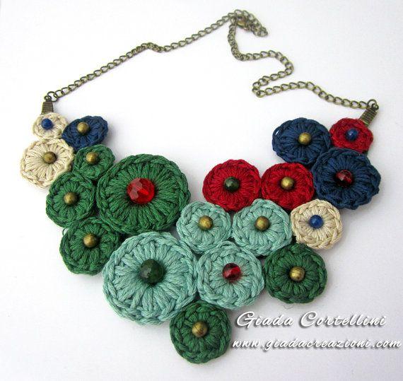 Necklace, crochet, cotton yarn, 100% vegan, cruelty free, beads, multicoloured, solid, bronze, chain, folk, ethnic, boho