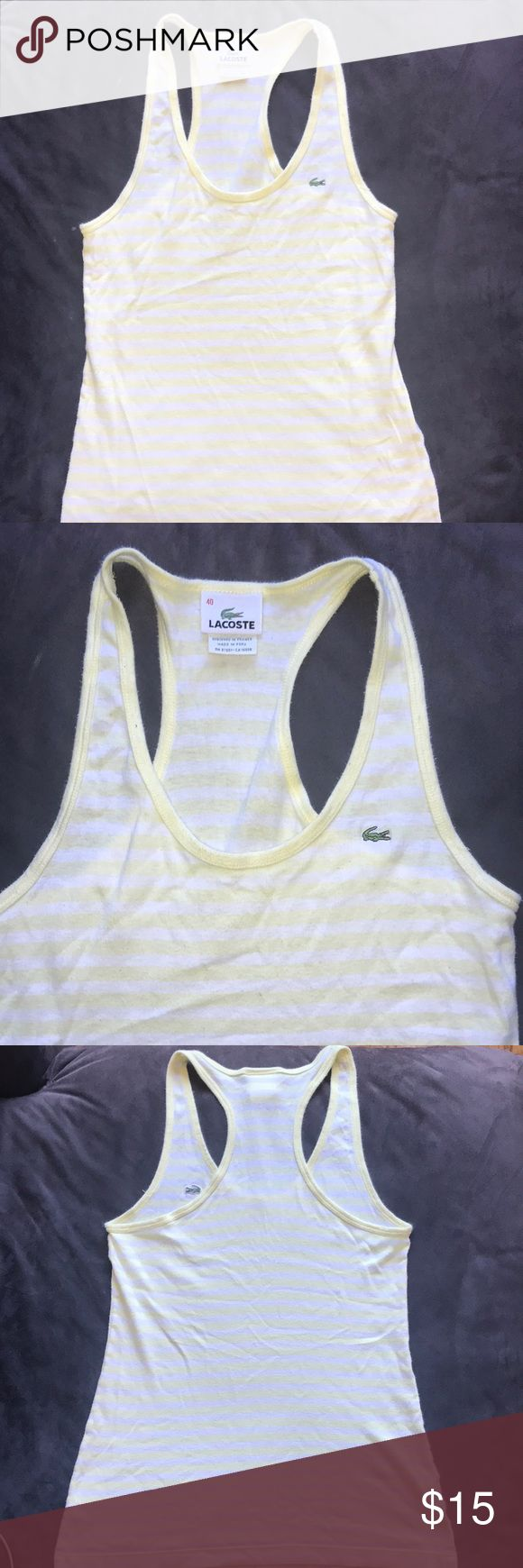 Lacoste white and yellow strip tank top Lacoste white and yellow strip tank top Lacoste Tops Tank Tops