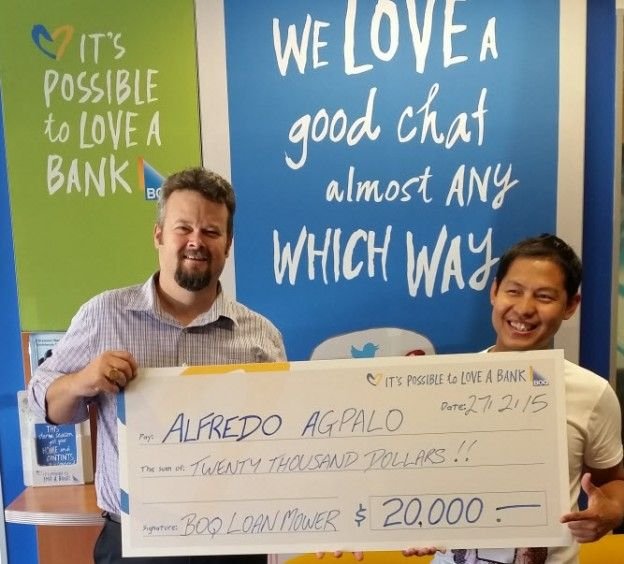 Lucky QLD resident and BOQ customer Alfredo Agpalo was very pleased to hear the news that he had won the top prize in BOQ's $20,000 Loan Mower Competition.
