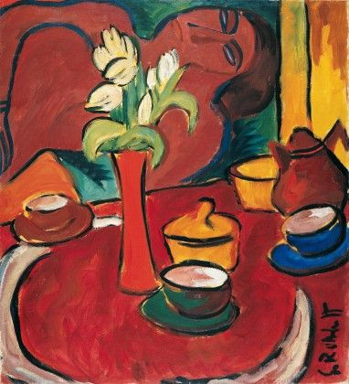 Schmidt-Rottluff, Karl, (1884-1976), Still Life with Yellow Tulips, 1912