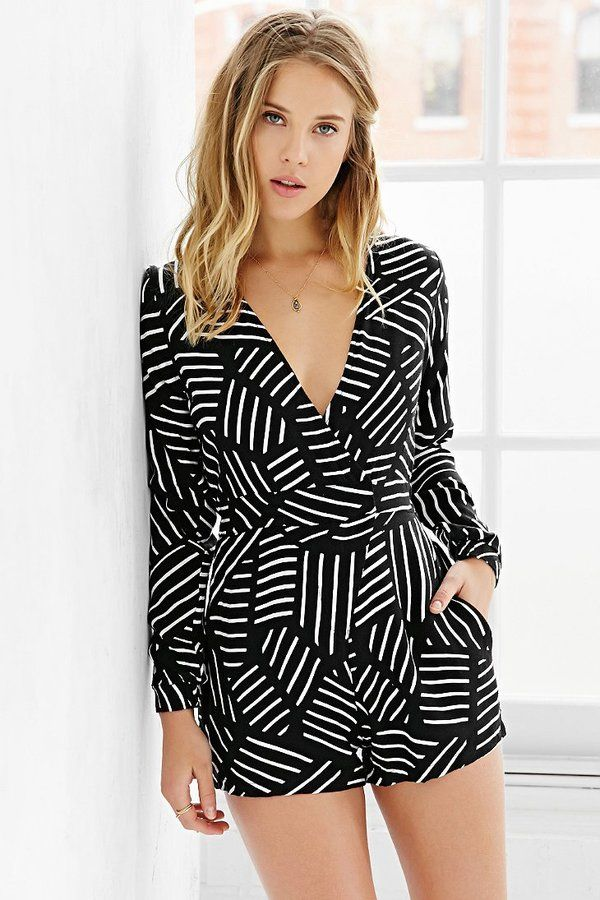 b&w patterned romper #urbanoutfitters
