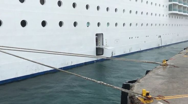 New footage has been posted online of a Costa cruise ship which came extremely close to breaking free from its mooring ropes.