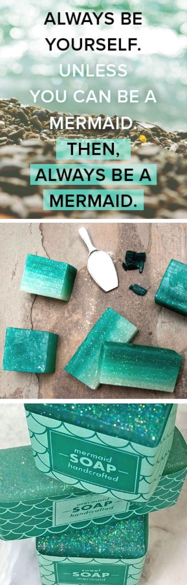 Handcrafted Mermaid Ombre Soap DIY Kit. Creative and quirky birthday gift ideas, beauty finds and more on Darby Smart.
