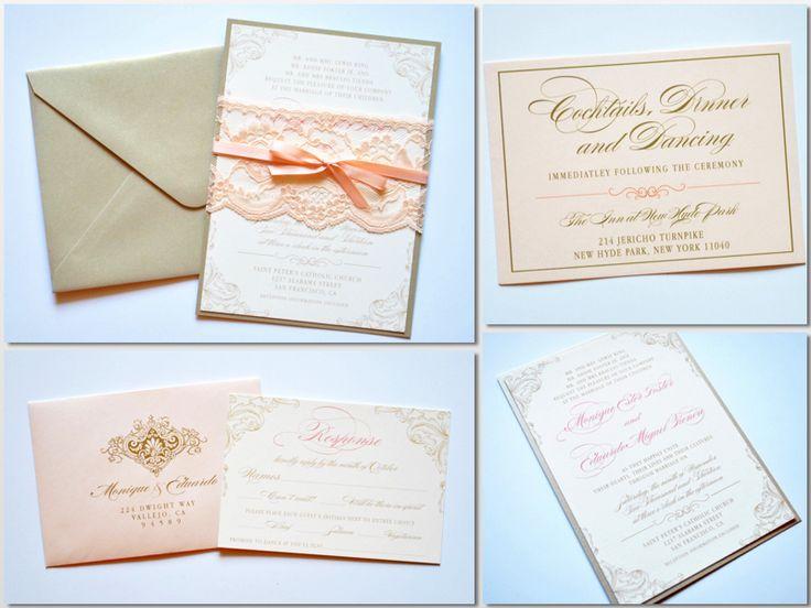 Blush Wedding Invitations, Blush Lace Wedding Invitations, Blush and Gold Wedding Invitations by Whimsy B. Paperie www.whimsyb.com