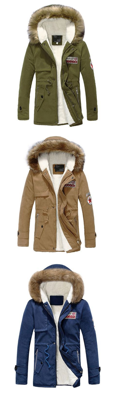 Men's Cotton Pure Long Sleeve Long Parka Coat