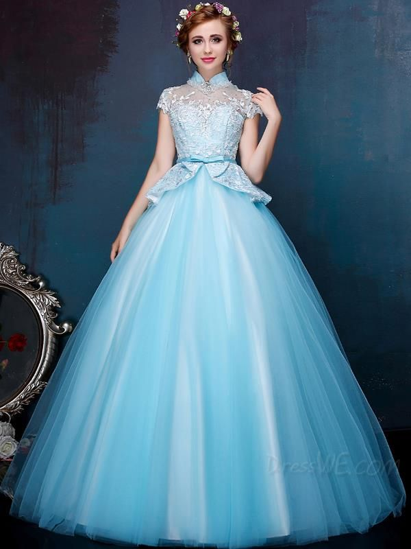 Grace Lace Embroidery Beading High Neck Cap Sleeves Lace-up Floor Length Ball Gown Dress