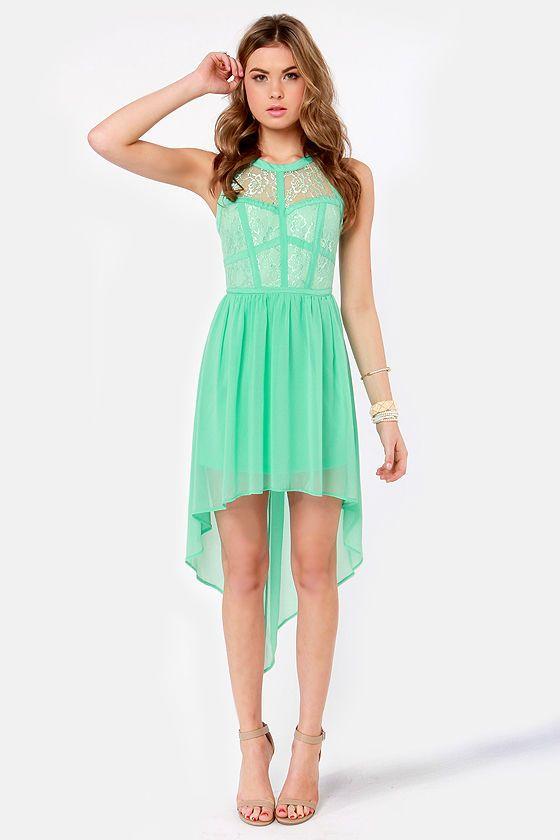 Lovely Lace Dress - Mint Green Dress - High-Low Dress - $48.00