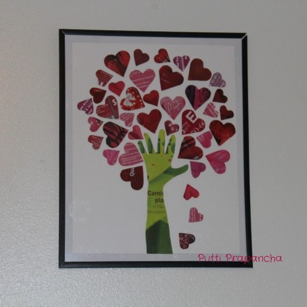 This beautiful 'Tree of Hearts' was made out of old magazines. The entire project would nothing except the frame.