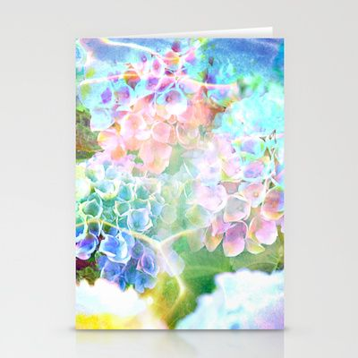 Hydrangeas in Water Stationery Cards by The Digital Weaver - $12.00