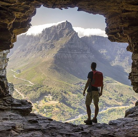 Table Mountain as viewed from a cave on Lions Head - Cape Town - Instagram photo