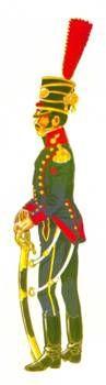 Artillería a caballo:  Este oficial pertenece a las unidades de artillería a caballo. Por eso, aunque su uniforme sigue las líneas generales del teniente antes descrito, éste tiene ciertos toques propios de su condición, como por ejemplo el chacó de cazador con cordones plateados, las botas cortas de caballería y unos faldones más cortos. El sable parece ser del mismo tipo en ambos casos.