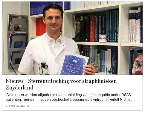 17-11-2015: Drie sterren en het predicaat 'Topkliniek' ! De afdelingen Longziekten, KNO, Neurologie, Tandheelkunde en Kaakchirurgie van Zuyderland Medisch Centrum Heerlen zijn blij met de waardering van de landelijke ApneuVereniging. Lees meer bij nieuws op www.zuyderland.nl