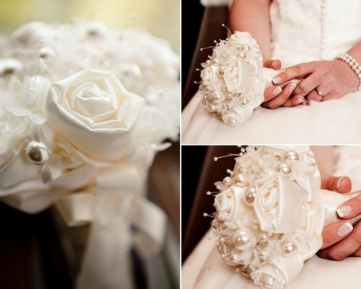Debbie Carlisle Real Bride Bespoke Satin Rose and Pearl Posy Bouquet