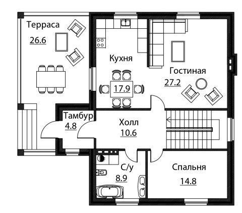 Проект дома A-176 - Проекты домов и коттеджей в Липецке
