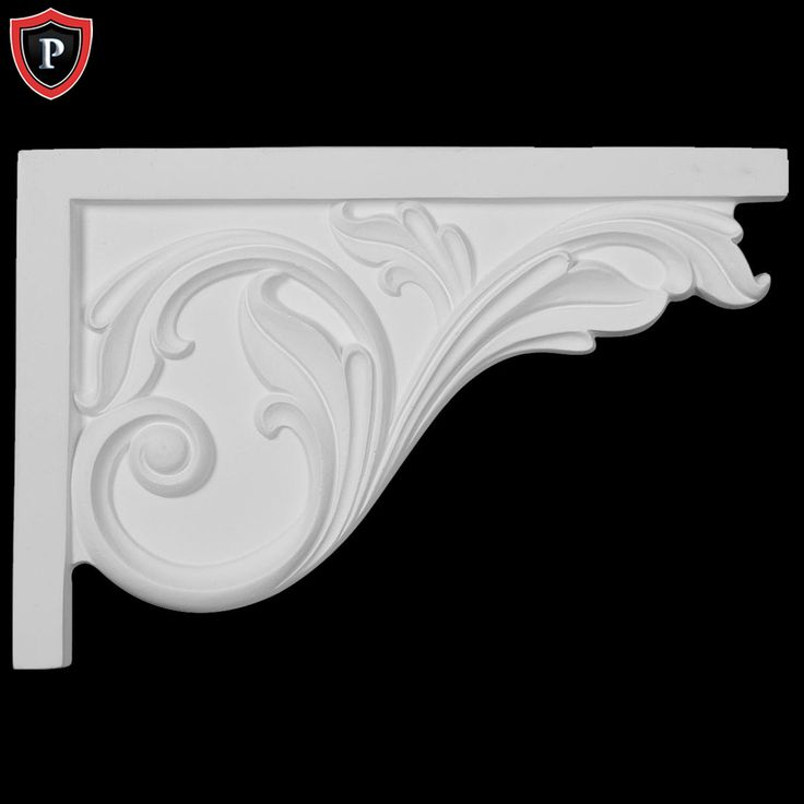 "11-3/4""(W) x 7-3/4""(H) x 3/4""(D) - Large Acanthus Stair Bracket, Right - [Polyurethane Material] | Shop.columns.com"