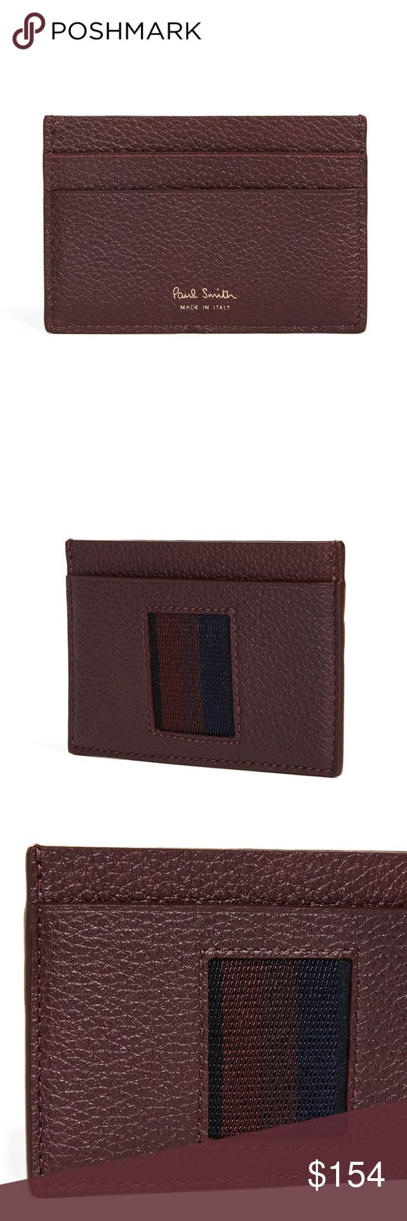 Paul Smith Stripe Webbing Card Case A pebbled leather Paul Smith card case with an inset woven detail in front. Lined center pocket and 4 card slots.  Leather: Cowhide. Made in Italy.  Measurements Height: 2.5in / 6.5cm Length: 4in / 10cm Paul Smith Accessories Key & Card Holders