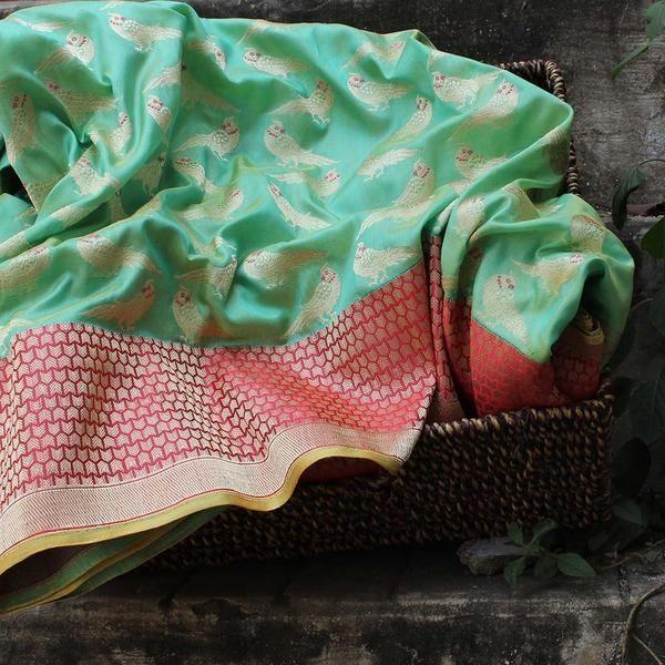 Sea Green Pure Katan Silk Banarasi Handloom Saree