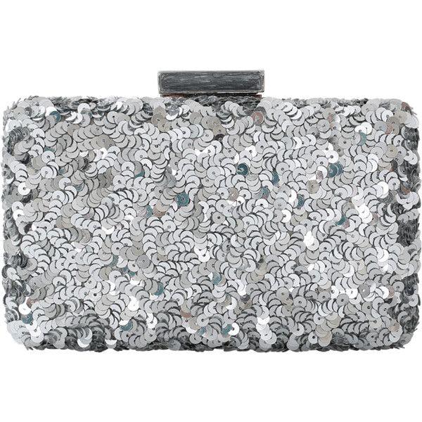 Oscar De La Renta Rogan Sequin Box Clutch ($1,490) ❤ liked on Polyvore featuring bags, handbags, clutches, box clutch, oscar de la renta purse, silver handbags, clasp purse and chain purse