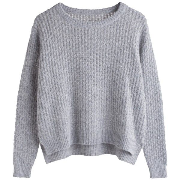 Listen Knit Sweater ❤ liked on Polyvore featuring tops, sweaters, jumpers, shirts, knit shirt, long shirts, ribbed knit sweater, ribbed sweater and sleeve shirt