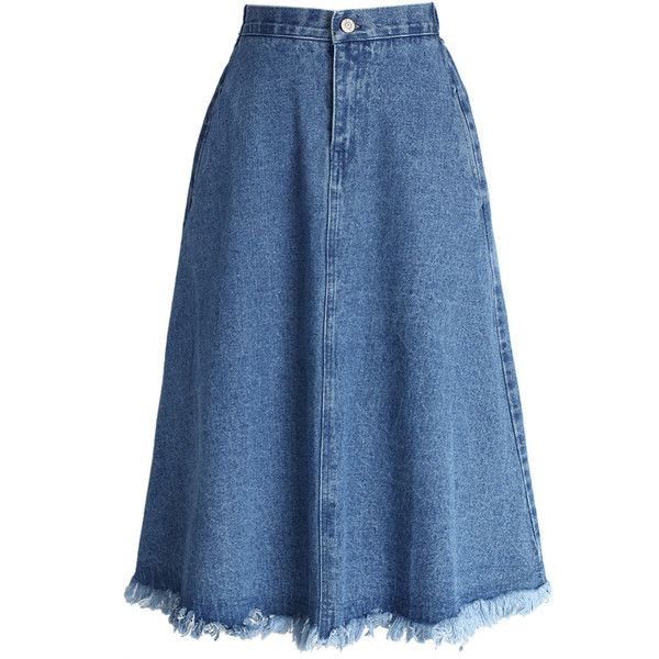 Chicwish A-line Midi Denim Skirt with Tassel Trim (125 BRL) ❤ liked on Polyvore featuring skirts, bottoms, blue, knee length denim skirt, a line denim skirt, denim skirt, high waist skirt and high-waisted skirts