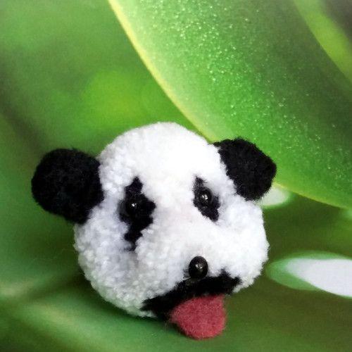 "Brož  \""Méďa panda - 熊貓\"", Brooch cute pomp pomp animals, wool, light, nature, animal, natural, panda, pet, white, cheerful, gentle, sweet, cute pom pom animals, miniature"