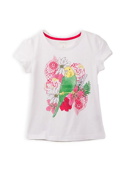 Pumpkin Patch - tees - budgie floral print tee - S4GL11011 - bright white - 5 to 12
