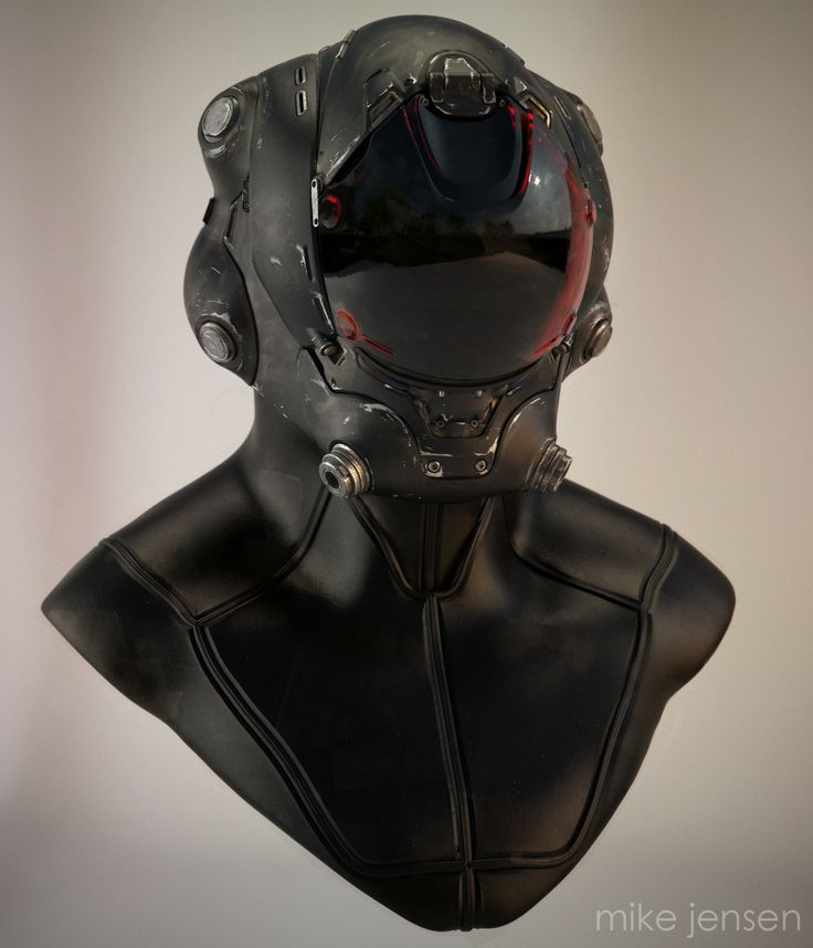 Cyberpunk, Pilot Helmet, Mike Jensen, Future, Futuristic, Military, Total Black