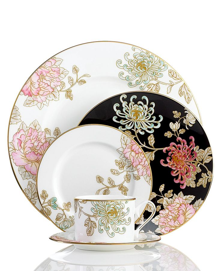 Marchesa by Lenox Dinnerware, Painted Camellia 5 Piece Place Setting - Fine China - Dining & Entertaining - Macy's $216