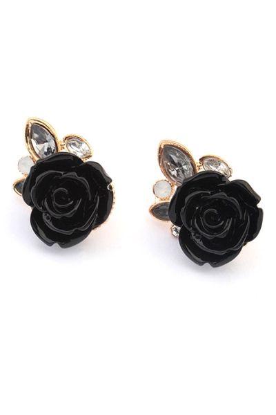 Fetching Rhinestone Ornament Rose Stud Earrings