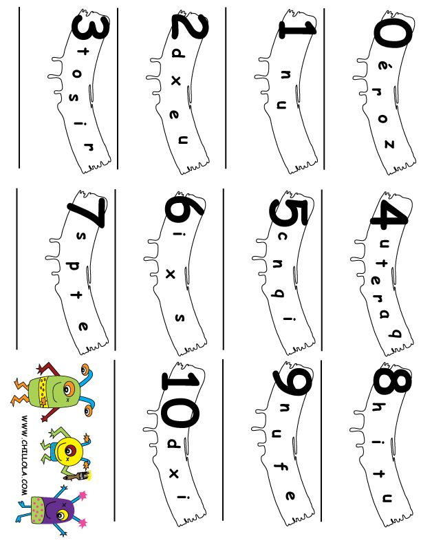 FREE ~ Number Word Scramble ~ French Printouts for Kids ~ Available in French, Spanish, Italian, German & English ~ FREE