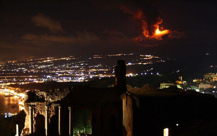 dalla città...eruzione Etna...spettacolo!!!
