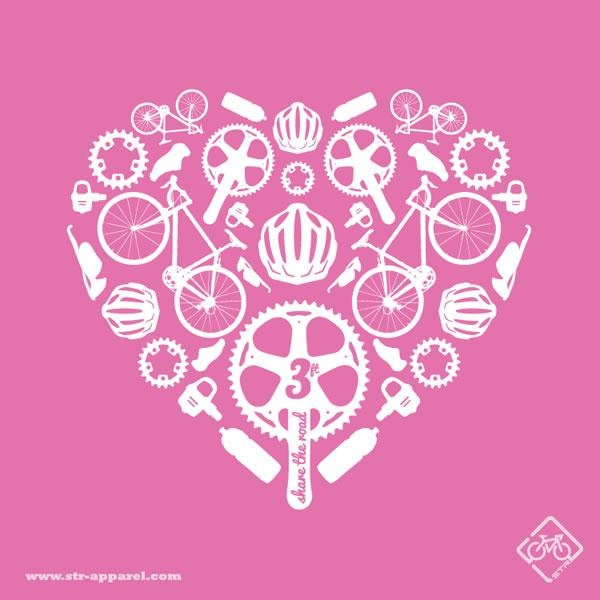 STR Apparel Bicycle Love T-Shirt. Share the Road. cycling, bikes, bicycle