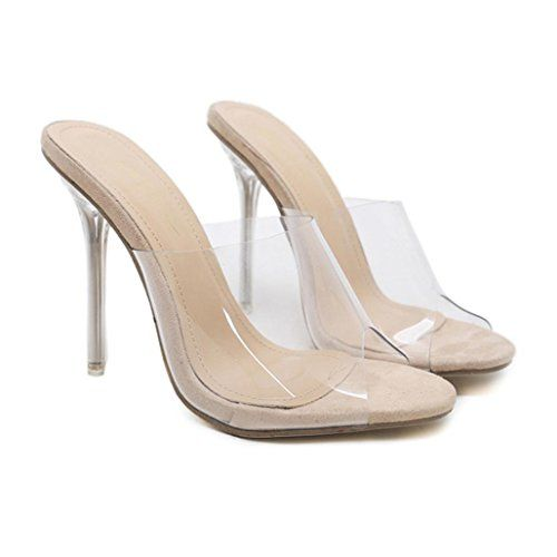 c1d21418075 DENER Women Ladies Summer High Heels Sandals Slippers,Clear Elegant ...