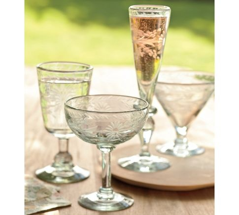 I might need these...$56.99 for set of 6.  Alessandra Etched Recycled Glass Stemware, Set of 6   Pottery Barn